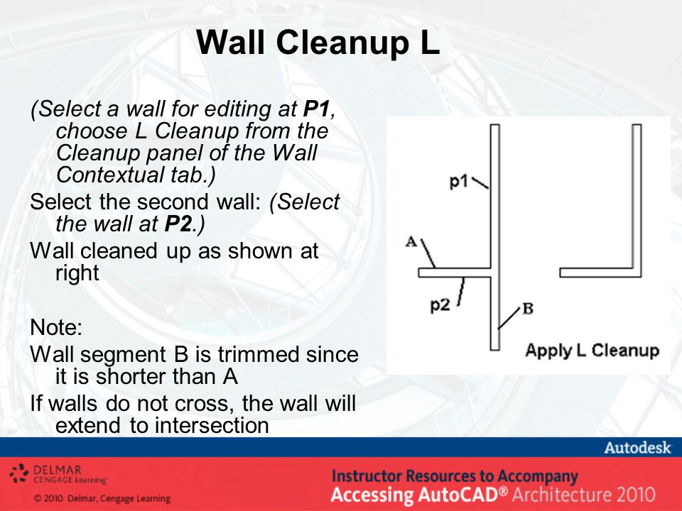 Wall Cleanup L (Select a wall for editing at P1, choose L Cleanup from the Cleanup panel of the Wall Contextual tab.) Select the second wall: (Select