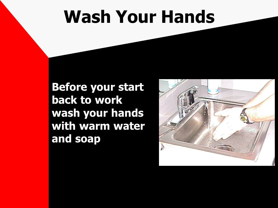 Wash Your Hands Before your start back to work wash your hands with warm water and soap