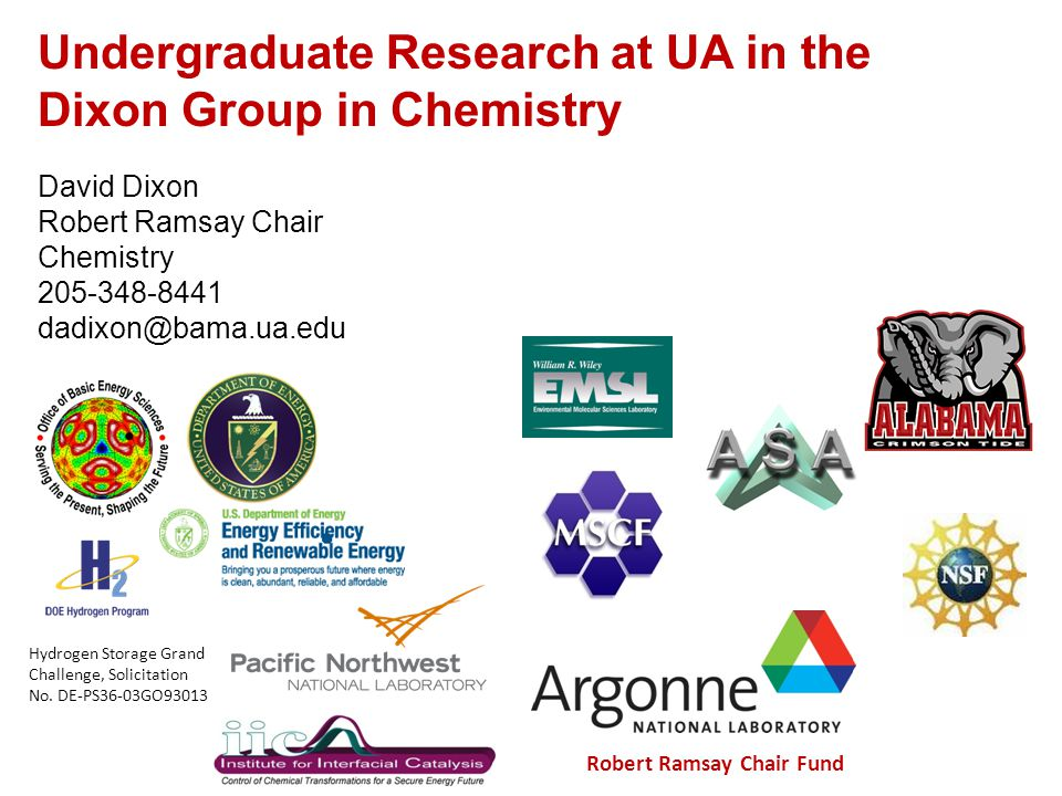 Mostly CBHP students – strong math and computing backgrounds Many Honors Chemistry CH-117 Use computational chemistry to solve real problems No actual research cost due to presence of computational resources in the Dixon group, at UA, and at Alabama Supercomputing Center including desktop computers, servers, massively parallel computers, and software.