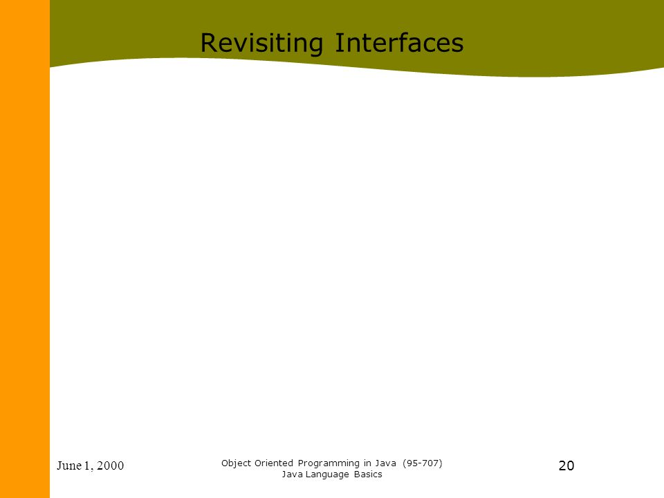 June 1, 2000 Object Oriented Programming in Java (95-707) Java Language Basics 20 Revisiting Interfaces