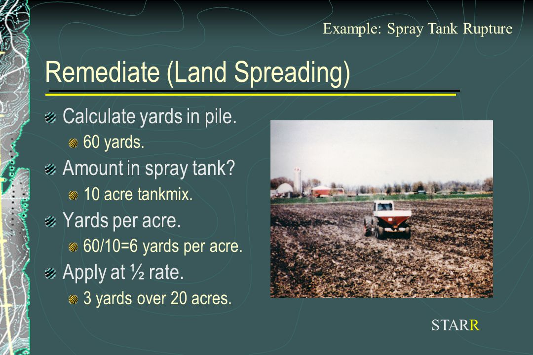 Remediate (Land Spreading) Calculate yards in pile. 60 yards. Amount in spray tank? 10 acre tankmix. Yards per acre. 60/10=6 yards per acre. Apply at