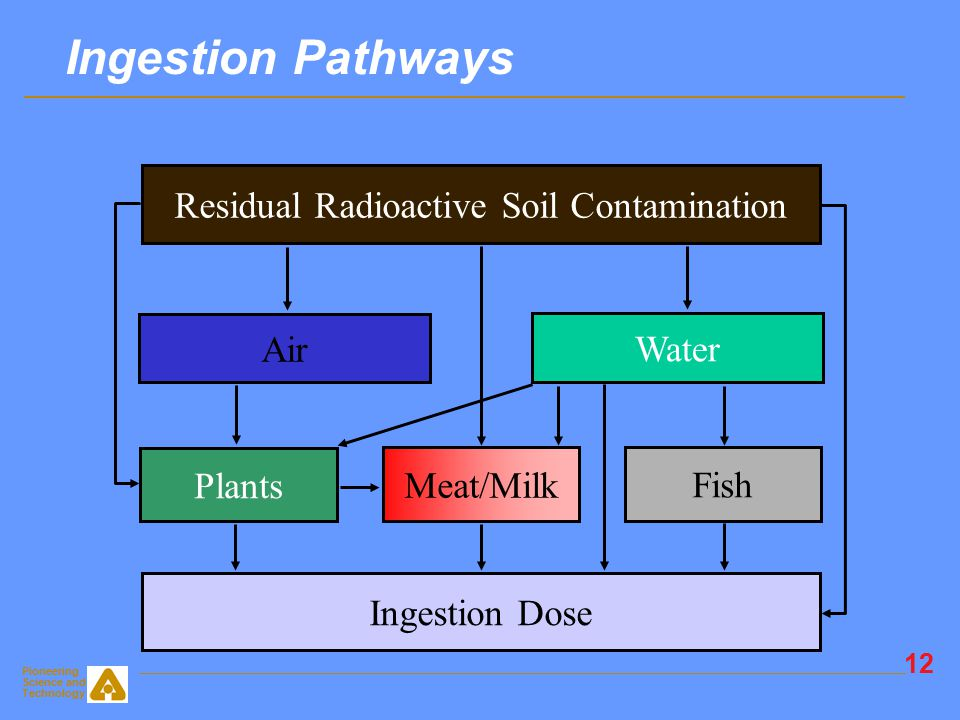 Pioneering Science and Technology 11 Water Pathway Models Leaching model: sorption-desorption ion exchange -Input of distribution coefficient (K d ) -Input of groundwater concentration -Input of solubility limit -Input of leach rate -Correlation of K d with soil-plant transfer factors Independent transport of daughter radionuclides Radionuclide transport models: Nondispersive flow, mass balance, and 3-D dispersion