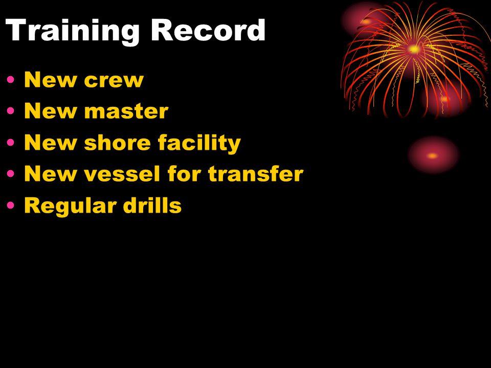Training Record New crew New master New shore facility New vessel for transfer Regular drills