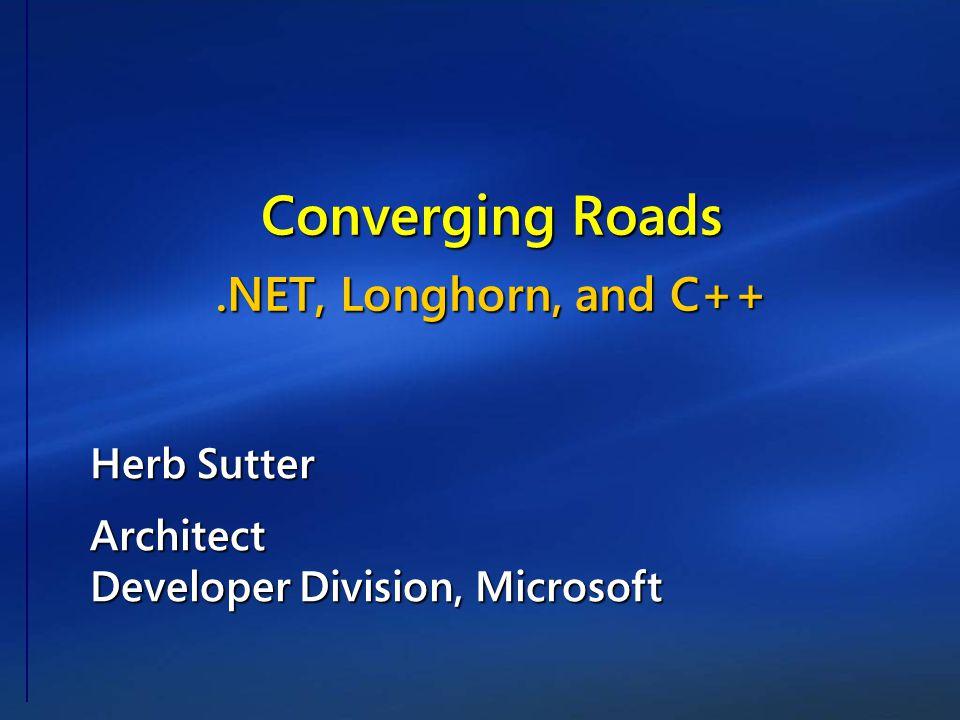 Herb Sutter Architect Developer Division, Microsoft Converging Roads.NET, Longhorn, and C++