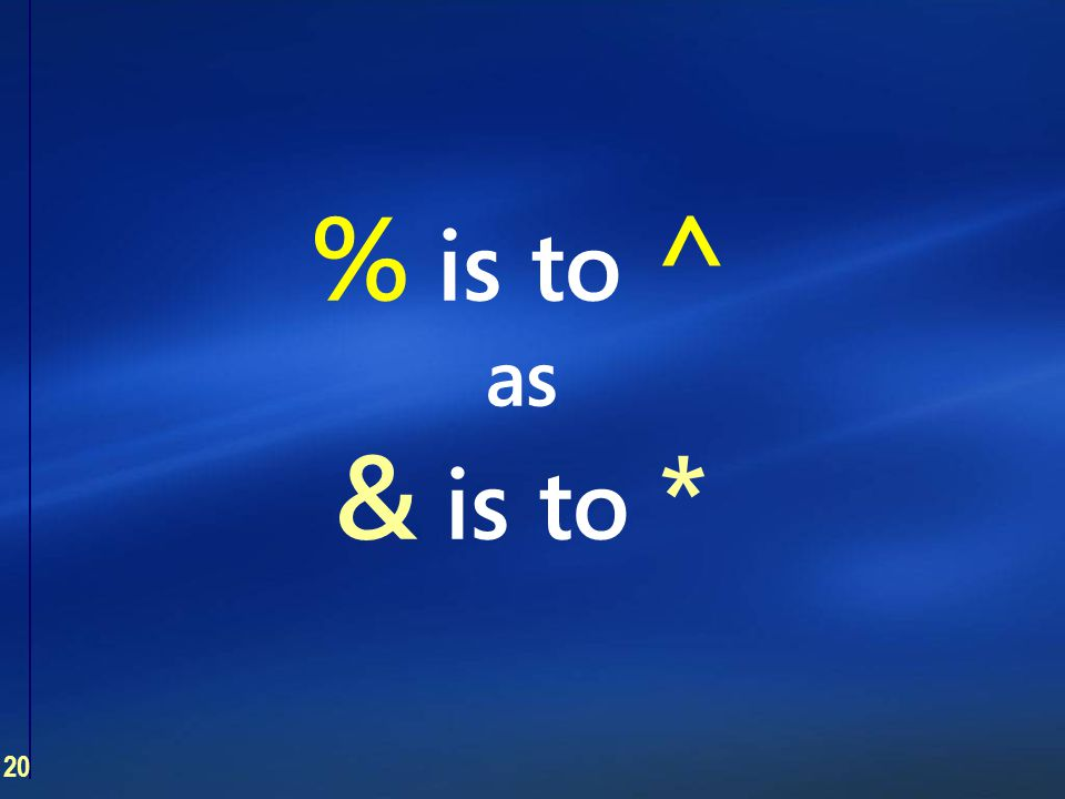 20 % is to ^ as & is to *