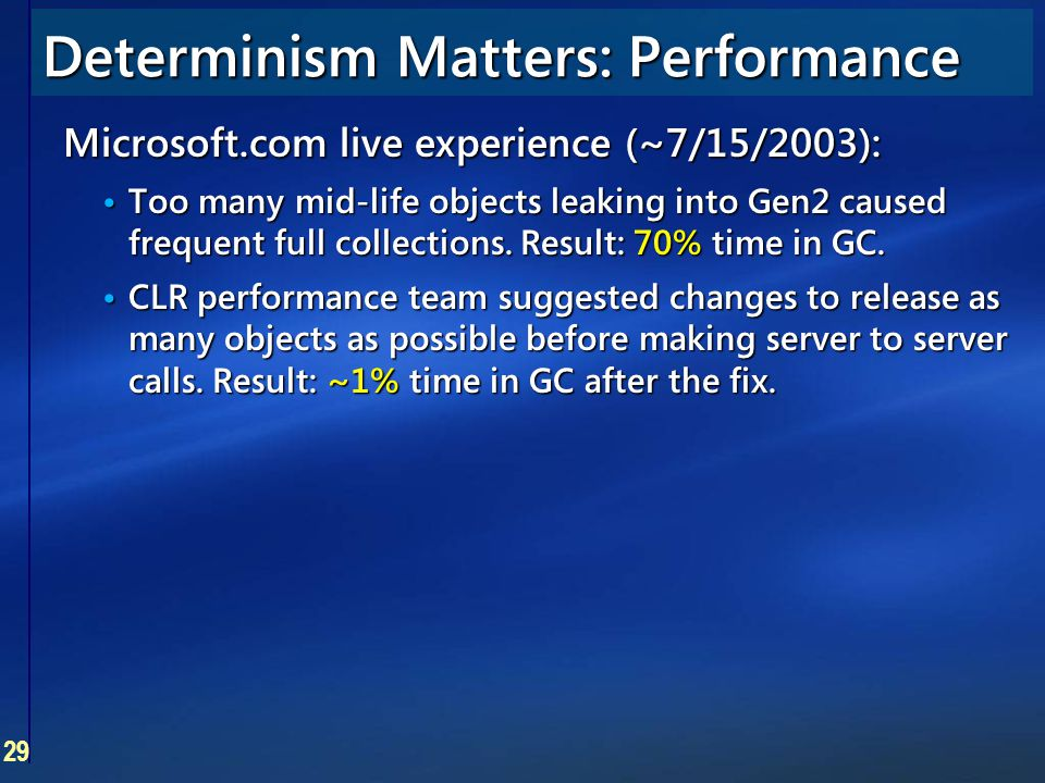 29 Microsoft.com live experience (~7/15/2003): Too many mid-life objects leaking into Gen2 caused frequent full collections. Result: 70% time in GC. T