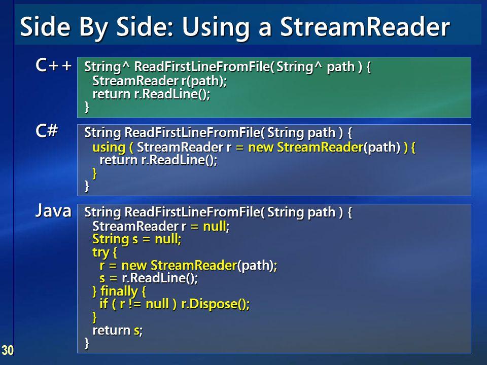 30 Side By Side: Using a StreamReader C++ String^ ReadFirstLineFromFile( String^ path ) { StreamReader r(path); return r.ReadLine(); } C# String ReadF
