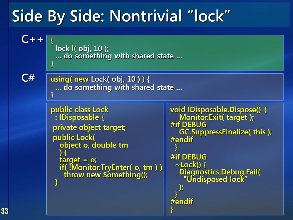 """33 Side By Side: Nontrivial """"lock"""" C++ { lock l( obj, 10 ); … do something with shared state … } C# using( new Lock( obj, 10 ) ) { … do something with"""