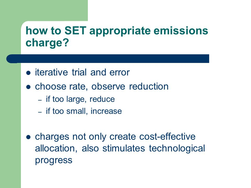 how to SET appropriate emissions charge.