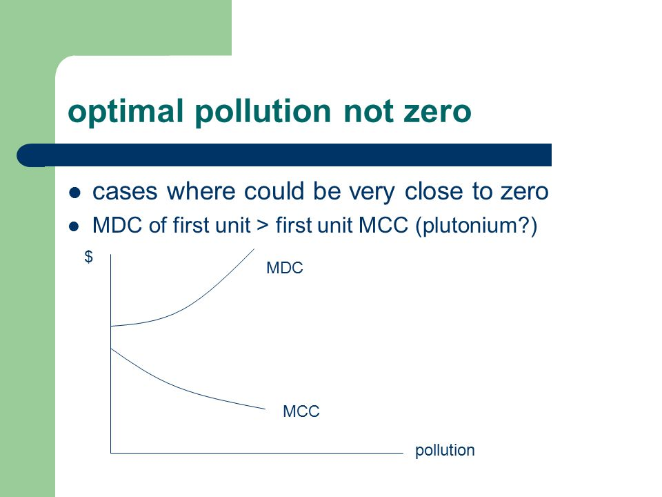optimal pollution not zero cases where could be very close to zero MDC of first unit > first unit MCC (plutonium ) MCC MDC pollution $