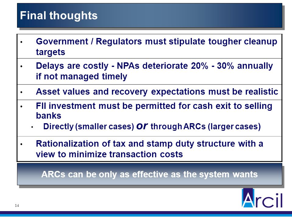 14 Government / Regulators must stipulate tougher cleanup targets Delays are costly - NPAs deteriorate 20% - 30% annually if not managed timely Asset