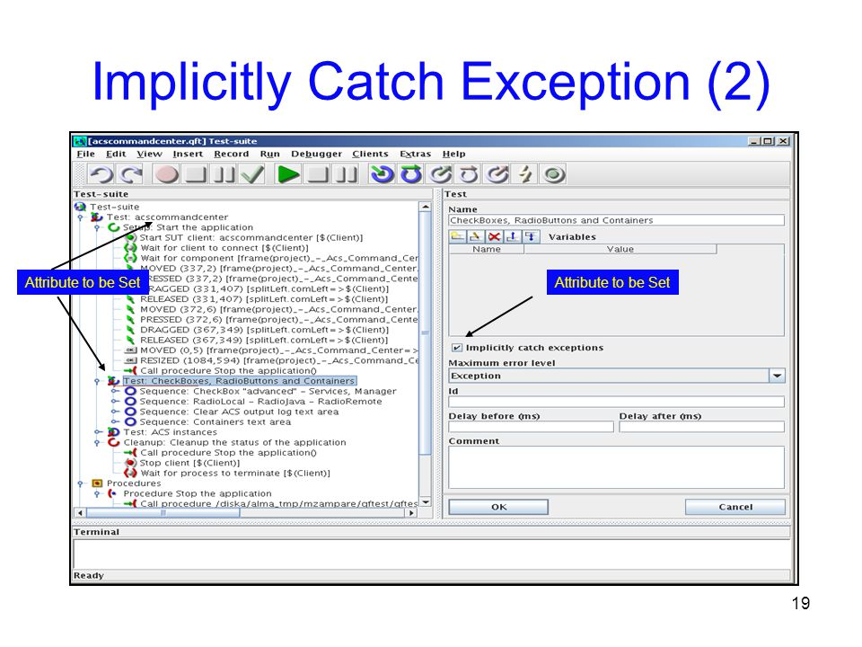 19 Implicitly Catch Exception (2) Attribute to be Set