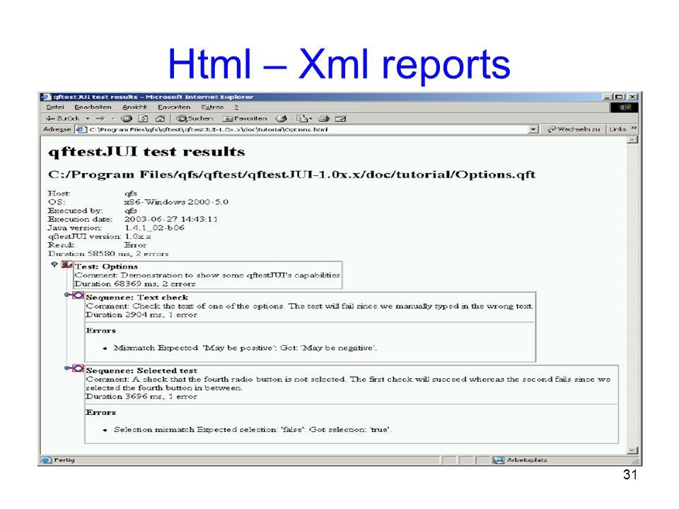 31 Html – Xml reports