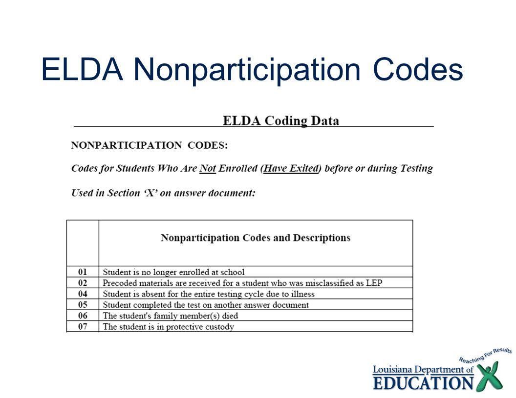 ELDA Nonparticipation Codes