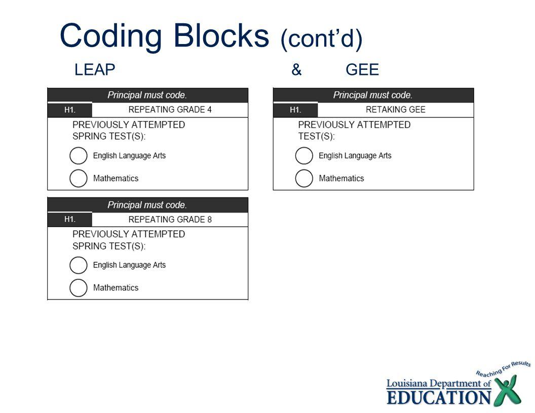 Coding Blocks (cont'd) LEAP &GEE