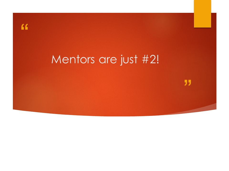 Mentors are just #2!