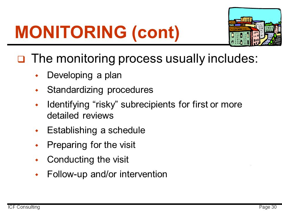 ICF Consulting Page 30 MONITORING (cont) q The monitoring process usually includes:  Developing a plan  Standardizing procedures  Identifying risky subrecipients for first or more detailed reviews  Establishing a schedule  Preparing for the visit  Conducting the visit  Follow-up and/or intervention