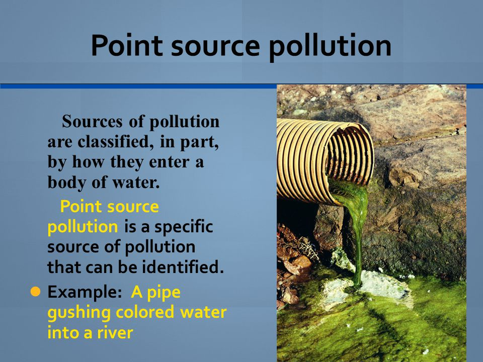 Nonpoint source pollution A widely spread source of pollution that can't be tied to a specific point of origin is called nonpoint source pollution.