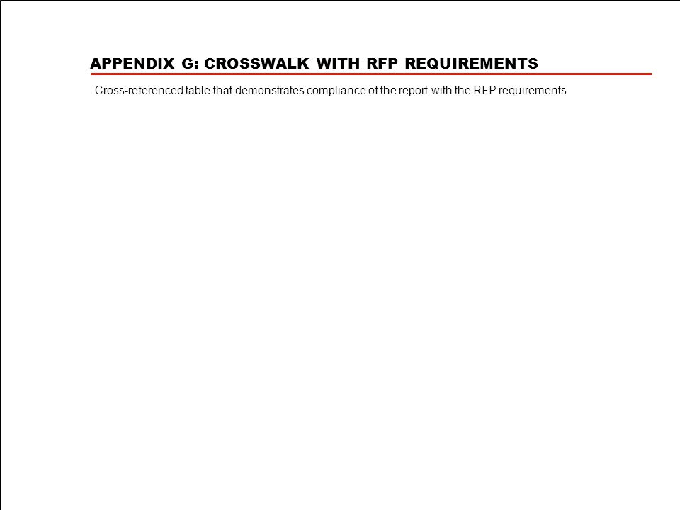 APPENDIX G: CROSSWALK WITH RFP REQUIREMENTS Cross-referenced table that demonstrates compliance of the report with the RFP requirements