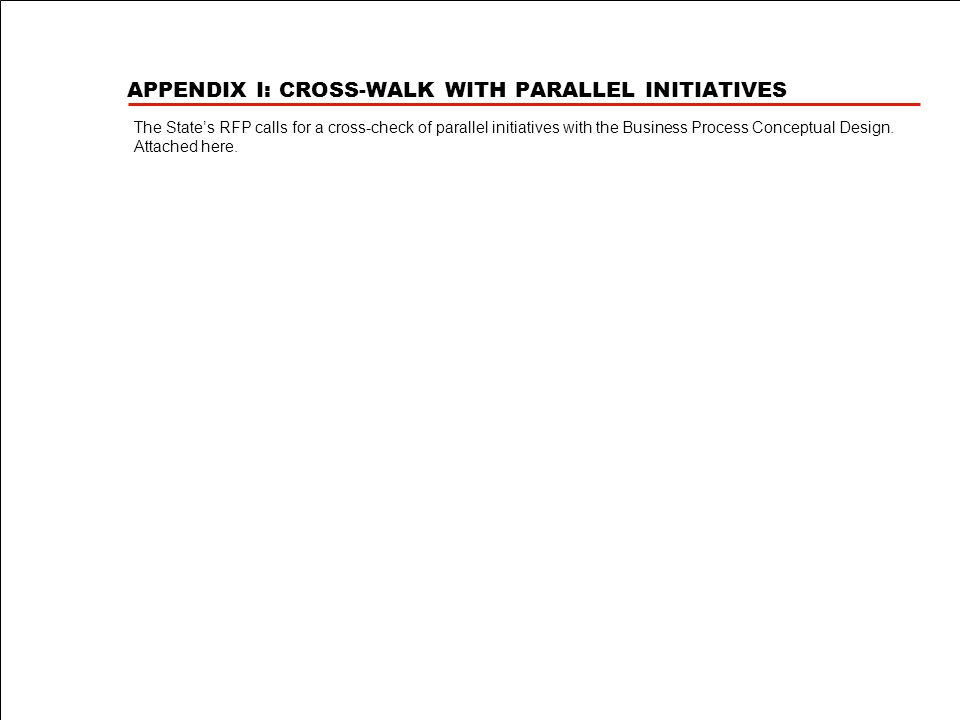 APPENDIX I: CROSS-WALK WITH PARALLEL INITIATIVES The State's RFP calls for a cross-check of parallel initiatives with the Business Process Conceptual Design.