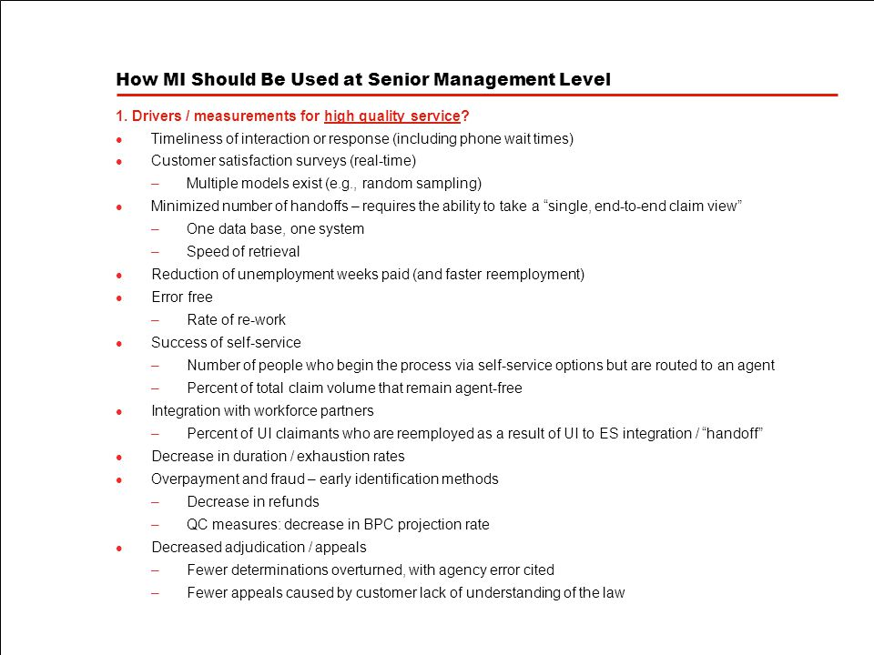How MI Should Be Used at Senior Management Level 1.