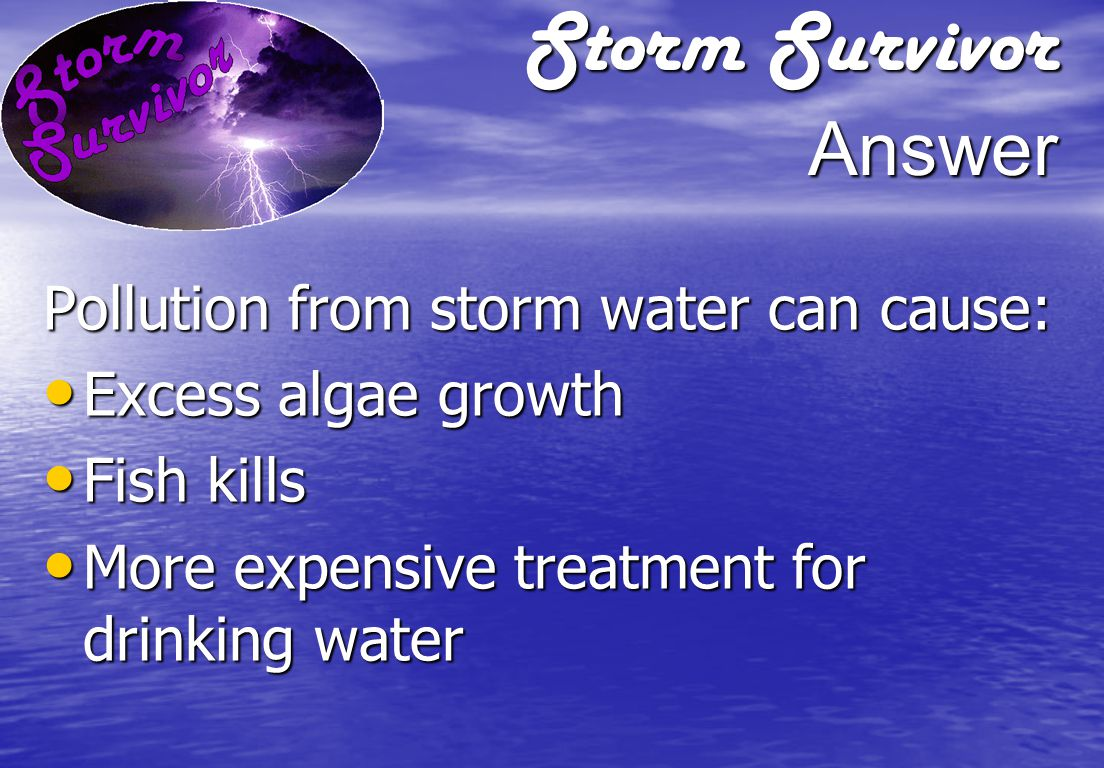 Storm Survivor Question What problems can result from pollution in storm water runoff