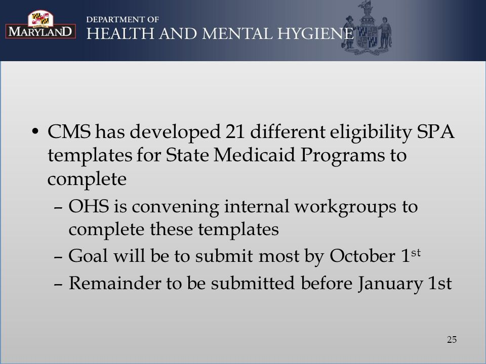 CMS has developed 21 different eligibility SPA templates for State Medicaid Programs to complete –OHS is convening internal workgroups to complete these templates –Goal will be to submit most by October 1 st –Remainder to be submitted before January 1st 25