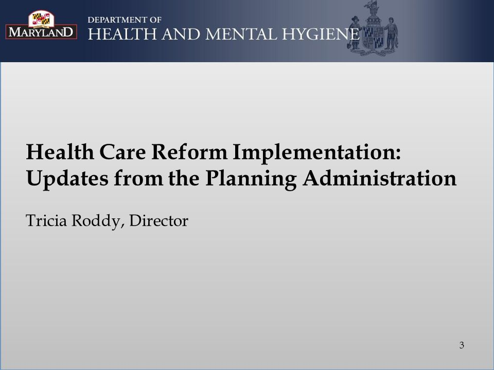 Health Care Reform Implementation: Updates from the Planning Administration Tricia Roddy, Director 3