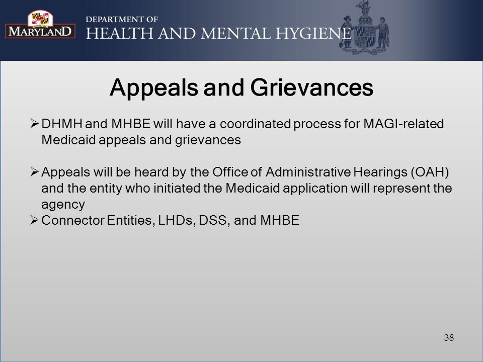 Appeals and Grievances  DHMH and MHBE will have a coordinated process for MAGI-related Medicaid appeals and grievances  Appeals will be heard by the Office of Administrative Hearings (OAH) and the entity who initiated the Medicaid application will represent the agency  Connector Entities, LHDs, DSS, and MHBE 38