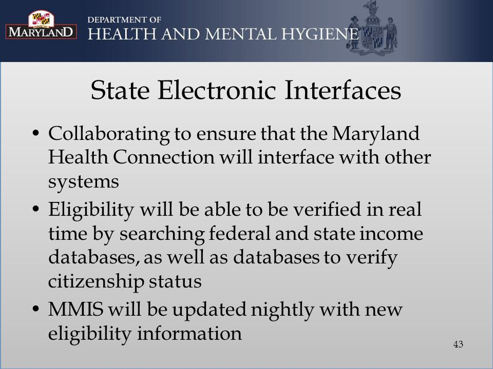 State Electronic Interfaces Collaborating to ensure that the Maryland Health Connection will interface with other systems Eligibility will be able to