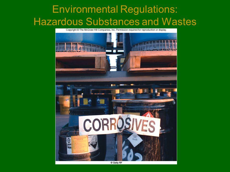 Environmental Regulations: Hazardous Substances and Wastes