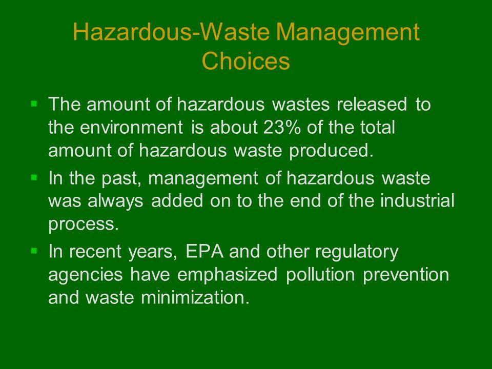 Hazardous-Waste Management Choices  The amount of hazardous wastes released to the environment is about 23% of the total amount of hazardous waste pr