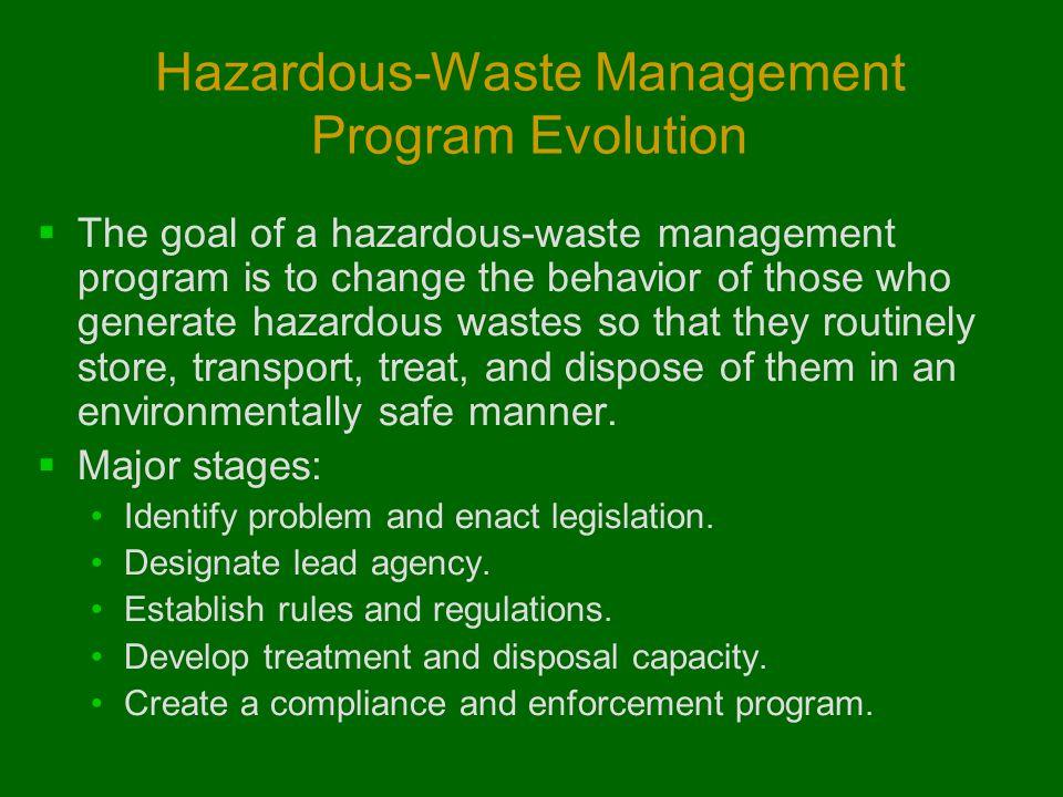 Hazardous-Waste Management Program Evolution  The goal of a hazardous-waste management program is to change the behavior of those who generate hazard