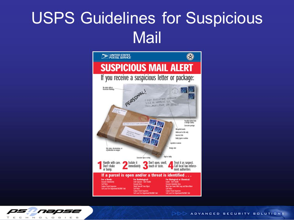 USPS Guidelines for Suspicious Mail