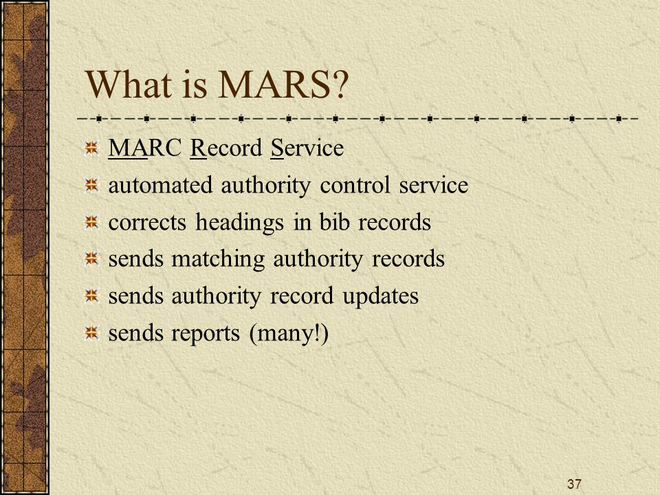 37 What is MARS.