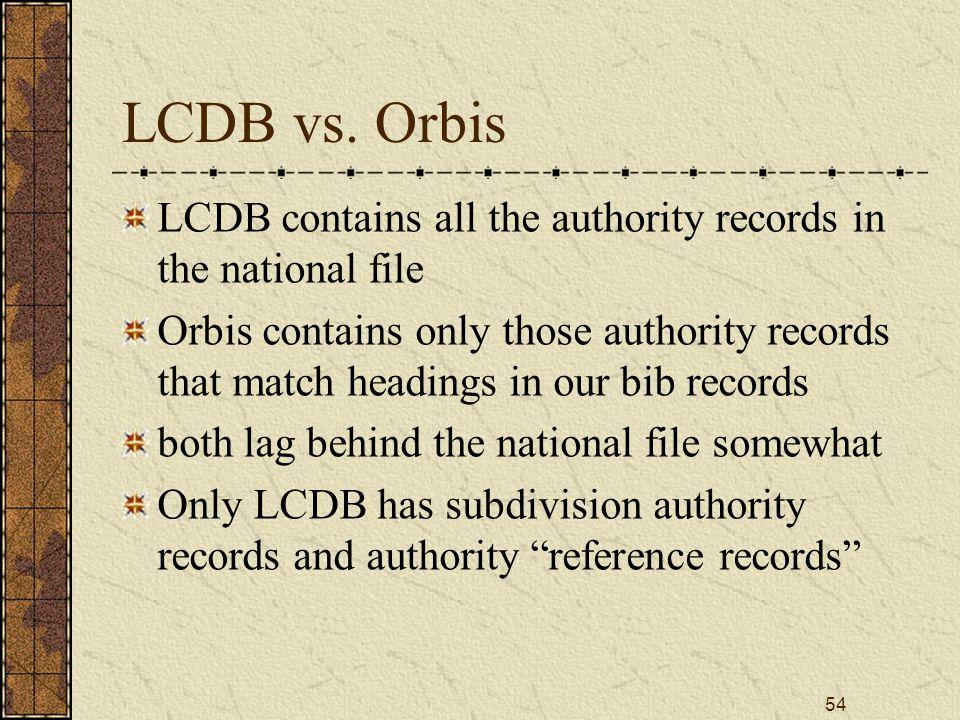 54 LCDB vs.