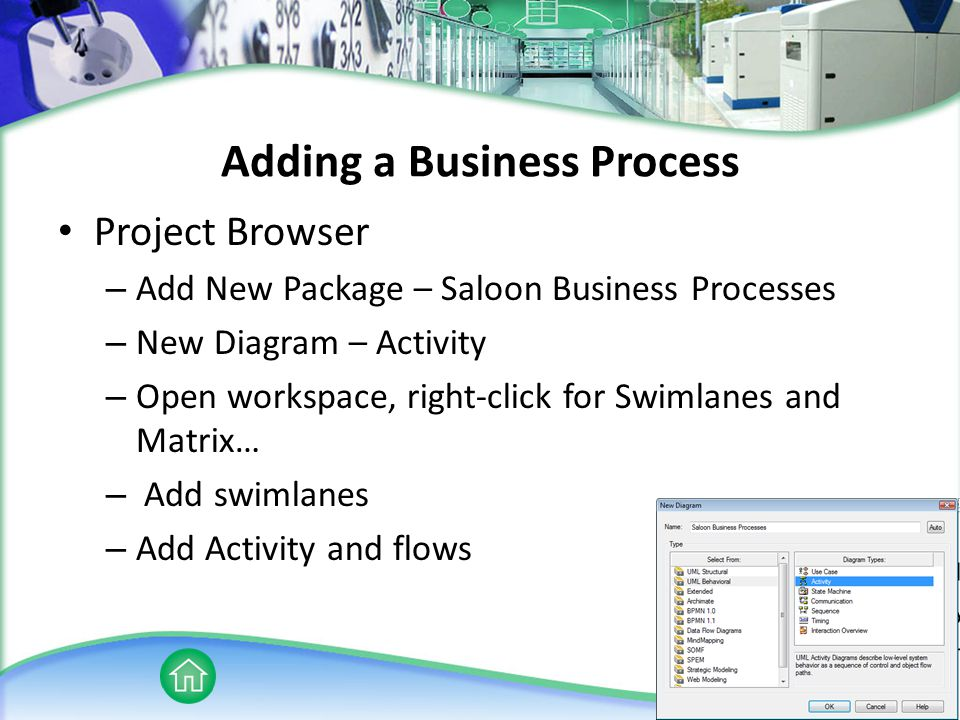Adding a Business Process Project Browser – Add New Package – Saloon Business Processes – New Diagram – Activity – Open workspace, right-click for Swimlanes and Matrix… – Add swimlanes – Add Activity and flows