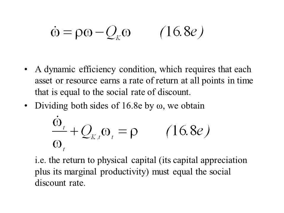 A dynamic efficiency condition, which requires that each asset or resource earns a rate of return at all points in time that is equal to the social rate of discount.