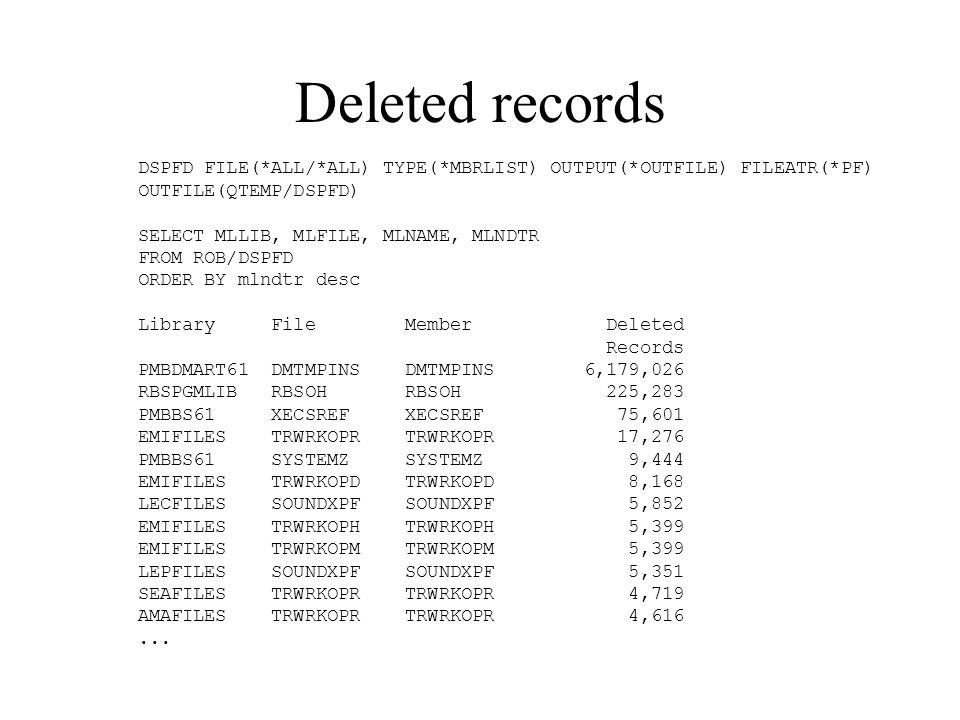 Deleted records DSPFD FILE(*ALL/*ALL) TYPE(*MBRLIST) OUTPUT(*OUTFILE) FILEATR(*PF) OUTFILE(QTEMP/DSPFD) SELECT MLLIB, MLFILE, MLNAME, MLNDTR FROM ROB/