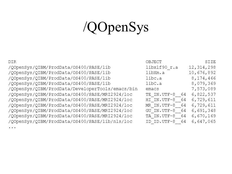 /QOpenSys DIR OBJECT SIZE /QOpenSys/QIBM/ProdData/OS400/PASE/lib libxlf90_r.a 12,314,298 /QOpenSys/QIBM/ProdData/OS400/PASE/lib libXm.a 10,676,892 /QO