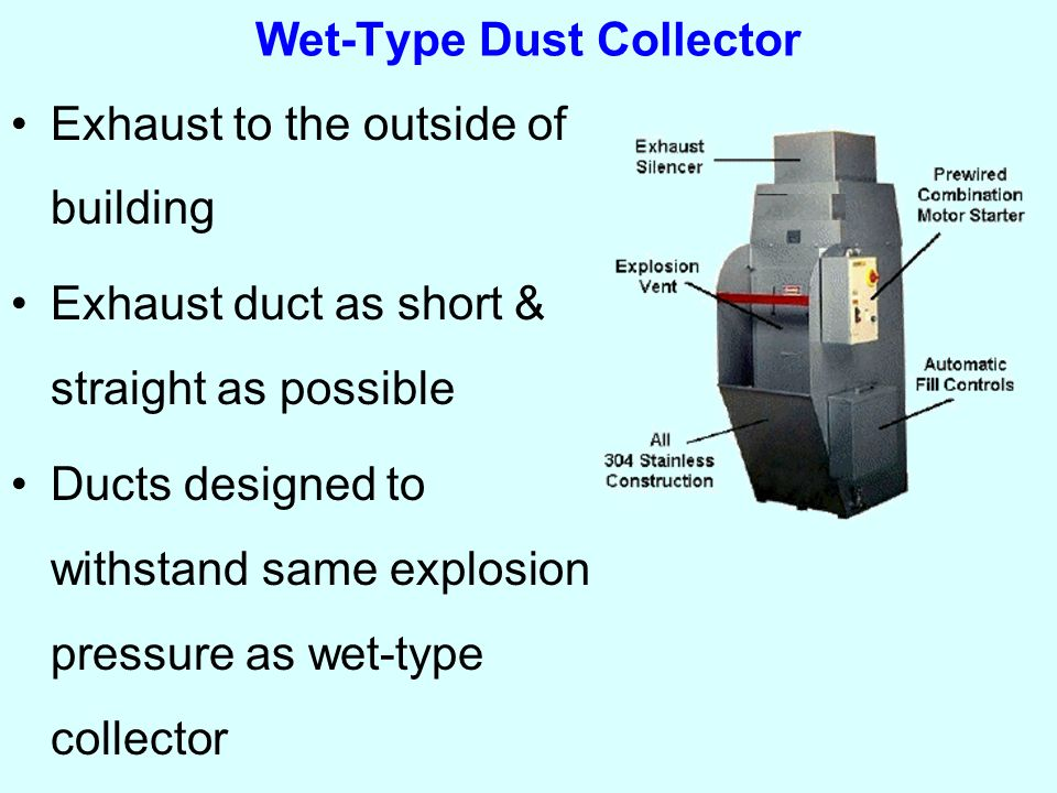 Wet-Type Dust Collector Exhaust to the outside of building Exhaust duct as short & straight as possible Ducts designed to withstand same explosion pressure as wet-type collector