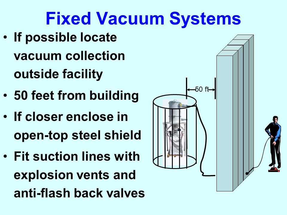 Fixed Vacuum Systems If possible locate vacuum collection outside facility 50 feet from building If closer enclose in open-top steel shield Fit suction lines with explosion vents and anti-flash back valves 50 ft.