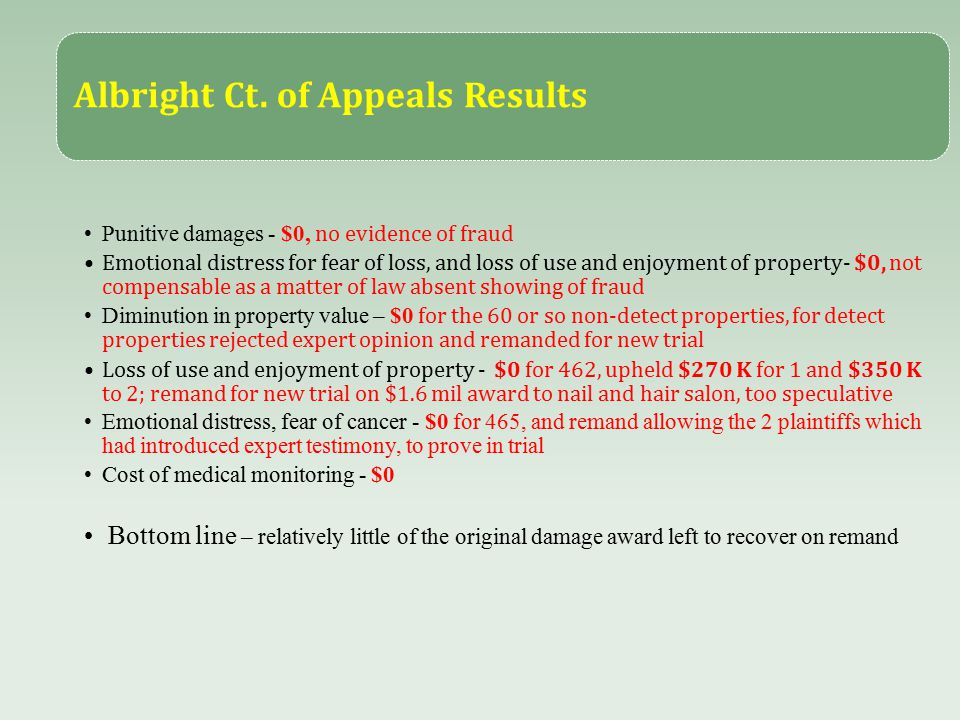 Albright Ct. of Appeals Results Punitive damages - $0, no evidence of fraud Emotional distress for fear of loss, and loss of use and enjoyment of prop
