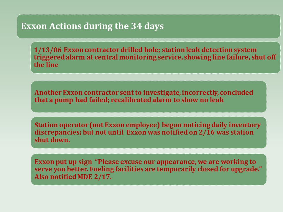 Exxon Actions during the 34 days 1/13/06 Exxon contractor drilled hole; station leak detection system triggered alarm at central monitoring service, showing line failure, shut off the line Another Exxon contractor sent to investigate, incorrectly, concluded that a pump had failed; recalibrated alarm to show no leak Station operator (not Exxon employee) began noticing daily inventory discrepancies; but not until Exxon was notified on 2/16 was station shut down.