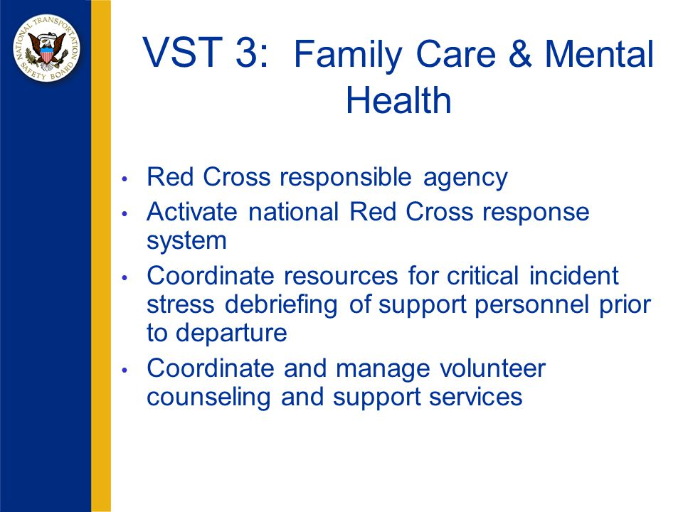 VST 3: Family Care & Mental Health Red Cross responsible agency Activate national Red Cross response system Coordinate resources for critical incident stress debriefing of support personnel prior to departure Coordinate and manage volunteer counseling and support services