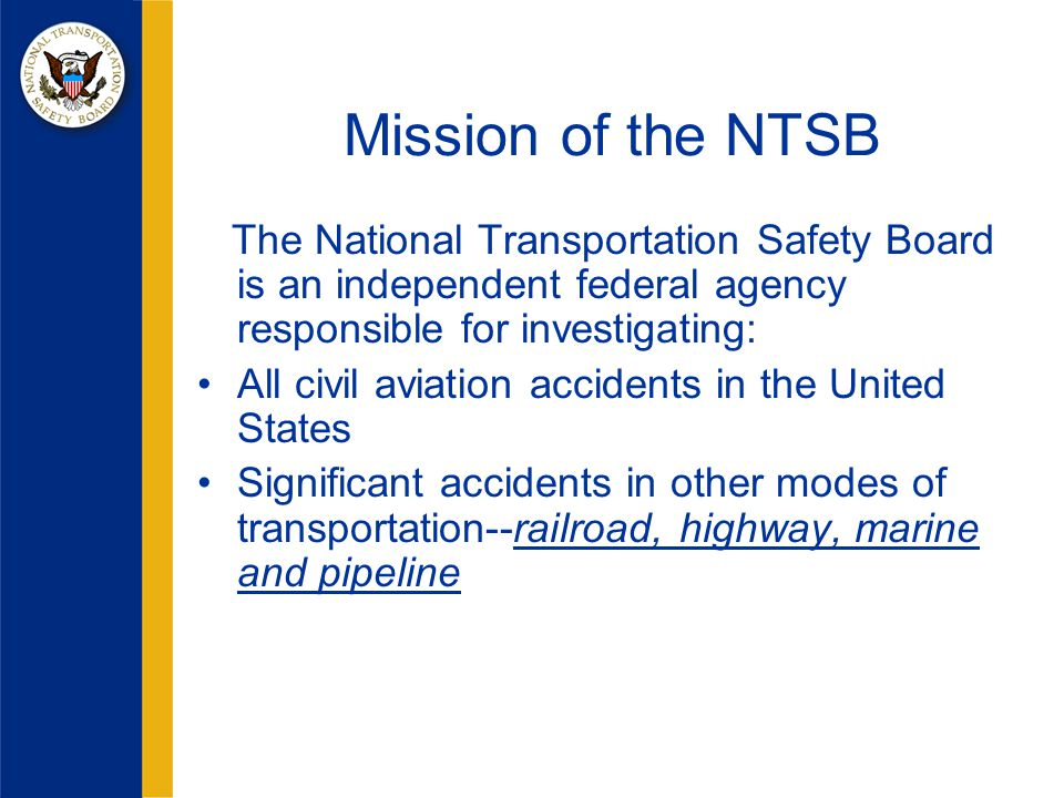 Coordinate with IIC for possible visit to crash site For water crashes, coordinate with local authorities for a suitable location that looks out towards the crash site Coordinate USCG for honor guard and for a helo to take flowers to the crash site VST 1: NTSB Tasks