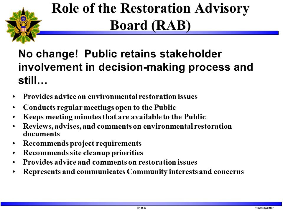 37 of 40 1130(R)20June07 Role of the Restoration Advisory Board (RAB) Provides advice on environmental restoration issues Conducts regular meetings open to the Public Keeps meeting minutes that are available to the Public Reviews, advises, and comments on environmental restoration documents Recommends project requirements Recommends site cleanup priorities Provides advice and comments on restoration issues Represents and communicates Community interests and concerns No change.