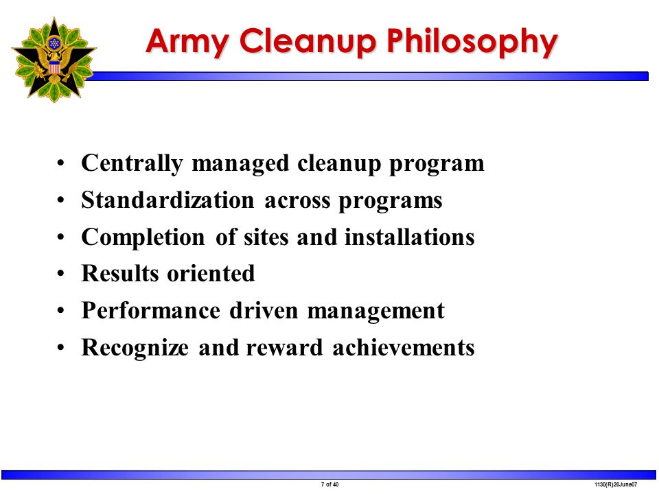 18 of 40 1130(R)20June07 Purpose Outline Performance-Based Acquisition Initiative for Army's Installation Restoration Program (IRP) Discuss why Army is proceeding with PBA Discuss roles and responsibilities in PBA implementation