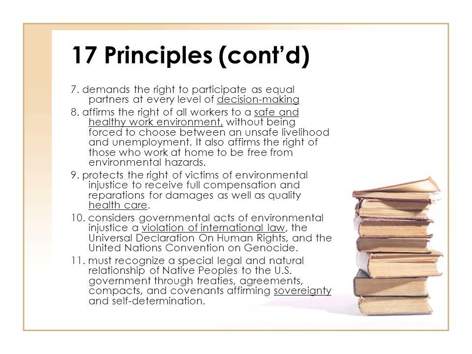 17 Principles (cont'd) 7.