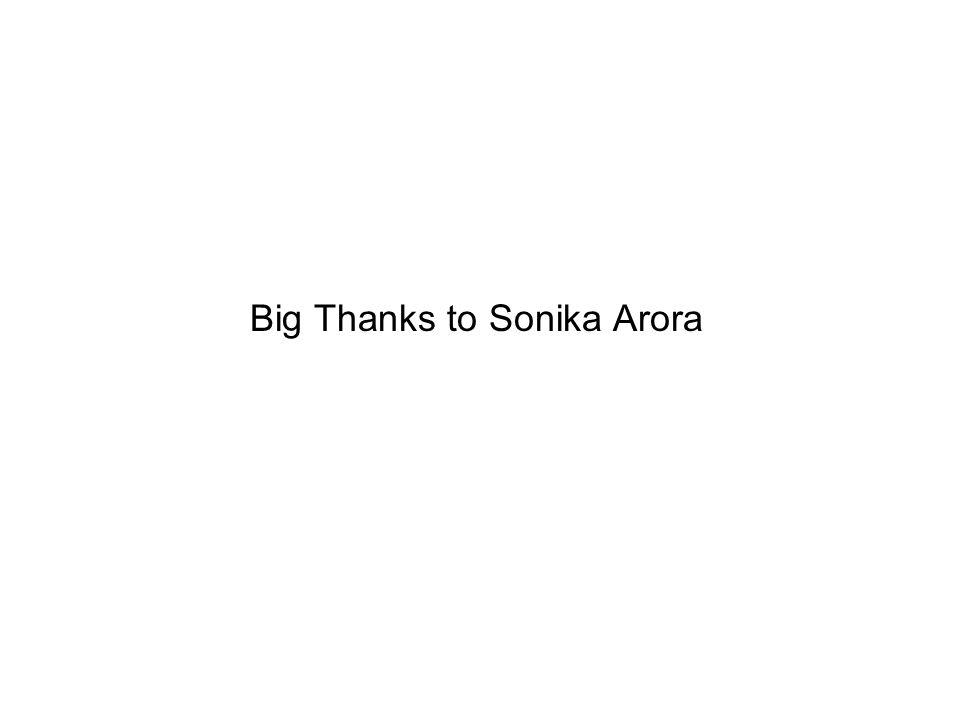 Big Thanks to Sonika Arora